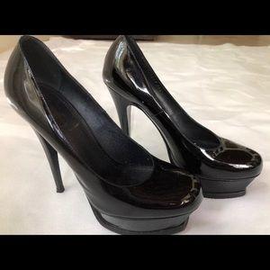 YSL Black Platform patent leather Heels size 36.5